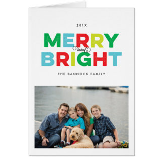 Colorful Type Merry and Bright Folded Holiday Card