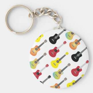 Colorful Ukulele Patterns Music Basic Round Button Key Ring