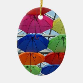 colorful Umbrella Ceramic Oval Decoration