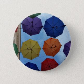 Colorful umbrellas 6 cm round badge