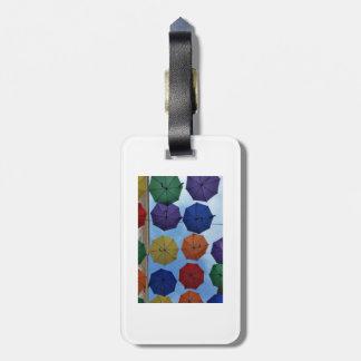Colorful umbrellas luggage tag