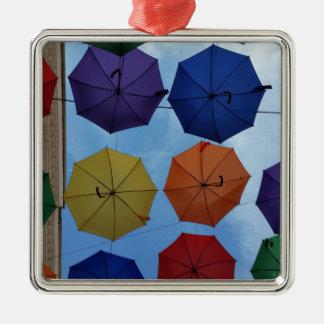 Colorful umbrellas metal ornament
