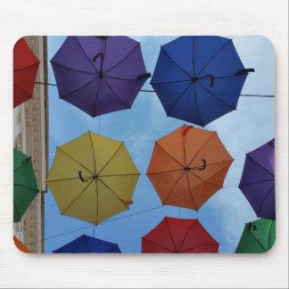 Colorful umbrellas mouse pad