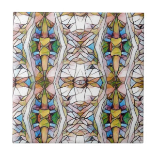 Colorful Uncommon Stained Glass Tribal Pattern Small Square Tile
