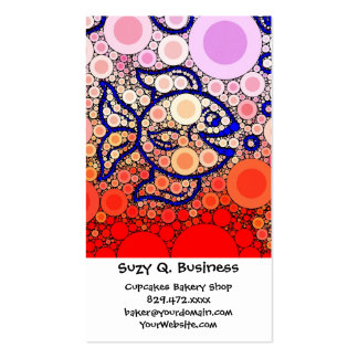 Colorful Under the Sea Bubbly Fish Swimming Mosaic Business Card Templates