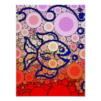 Colorful Under the Sea Bubbly Fish Swimming Mosaic Poster