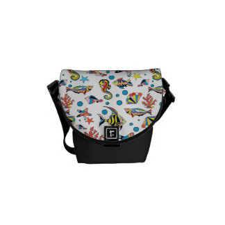 Colorful Underwater Sea Life Pattern Courier Bag