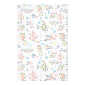 Colorful Underwater Sea Life Pattern Stationery