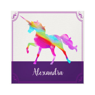 Colorful Unicorn Kid's Name Personalized Canvas Print