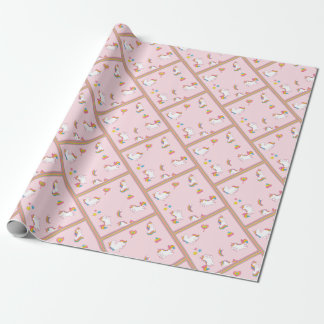 Colorful Unicorns on Pink Wrapping Paper