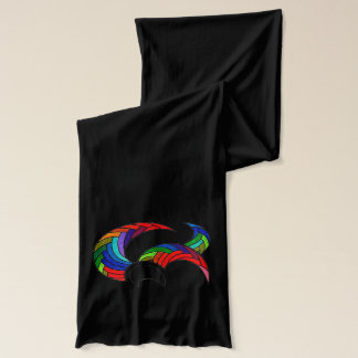 Colorful Unique Design Black Scarf