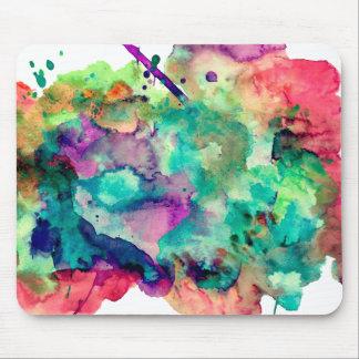 Colorful, Unique Watercolor Paint Splashes Mouse Pad