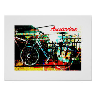 Colorful urban bike collage - amsterdam series poster