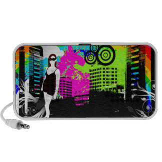 Colorful Urban City Girl Customizable design Speakers