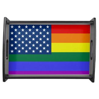 Colorful USA America rainbow pride flag Serving Tray