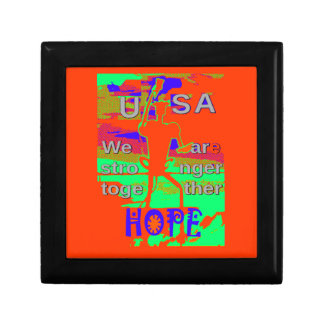 Colorful USA Hillary Hope We Are Stronger Together Small Square Gift Box