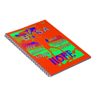 Colorful USA Hillary Hope We Are Stronger Together Spiral Notebooks