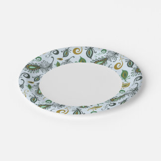 Colorful Various Feathers 7 Inch Paper Plate