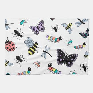 Colorful Vector Bugs & Butterflies Tea Towel