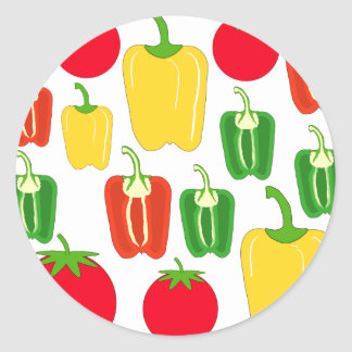Colorful Vegetables. Classic Round Sticker