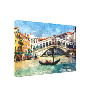 Colorful Venice Canal Grande Aquarelle Painting Canvas Print