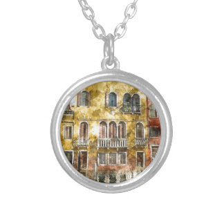 Colorful Venice Italy Buildings Silver Plated Necklace