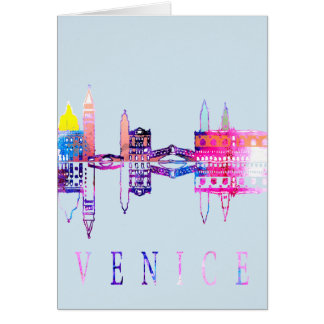 Colorful Venice skyline Card