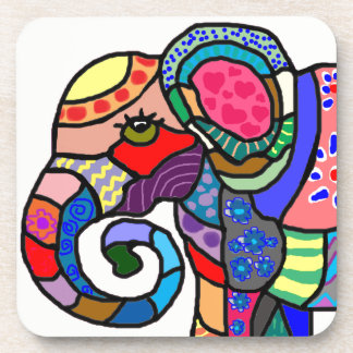 Colorful vibrant abstract elephant portrait coaster