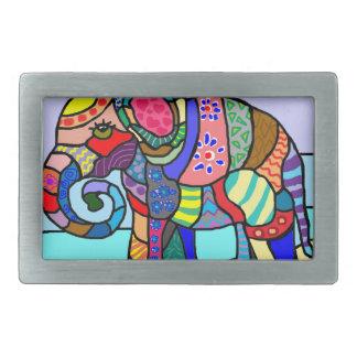 Colorful vibrant abstract folcloristic elephant belt buckle
