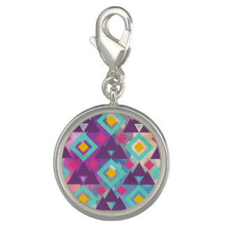 Colorful vibrant diamond shape boho batik pattern