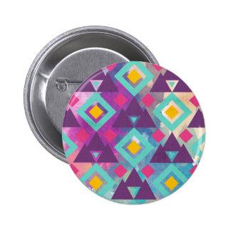 Colorful vibrant diamond shape boho batik pattern 6 cm round badge