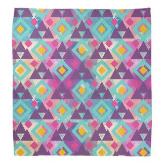 Colorful vibrant diamond shape boho batik pattern bandana