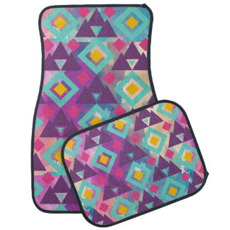 Colorful vibrant diamond shape boho batik pattern car mat