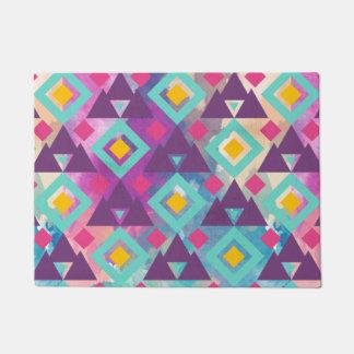 Colorful vibrant diamond shape boho batik pattern doormat