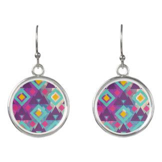 Colorful vibrant diamond shape boho batik pattern earrings