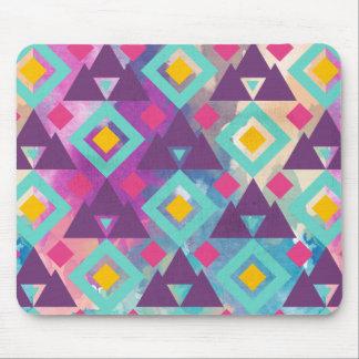 Colorful vibrant diamond shape boho batik pattern mouse pad