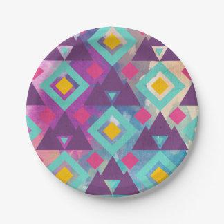 Colorful vibrant diamond shape boho batik pattern paper plate
