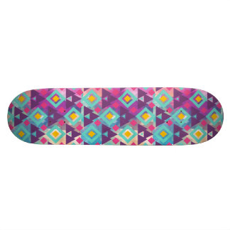 Colorful vibrant diamond shape boho batik pattern skateboard deck