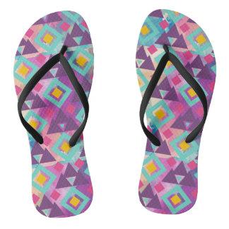 Colorful vibrant diamond shape boho batik pattern thongs