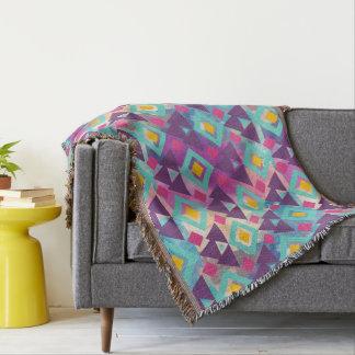 Colorful vibrant diamond shape boho batik pattern throw blanket