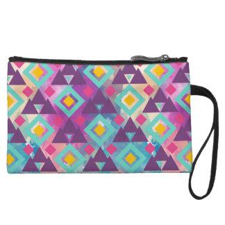 Colorful vibrant diamond shape boho batik pattern wristlet