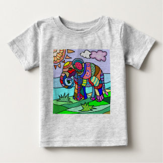 Colorful Vibrant Folk Art Abstract Flower Elephant Baby T-Shirt