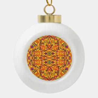 Colorful Vibrant Ornate Ceramic Ball Christmas Ornament