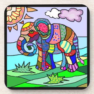 Colorful vibrant painted elephant art coaster