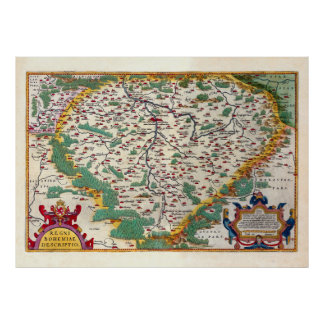 Colorful Vintage Antique Map of Bohemia Poster