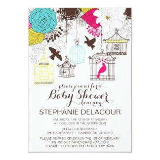 Colorful Vintage Birdcages Baby Shower Invitation