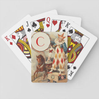 Colorful Vintage Clown Monogram Playing Cards