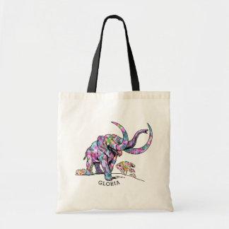 Colorful Vintage Elephant Illustration Tote Bag