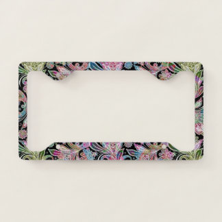 Colorful Vintage Ethnic Paisley Pattern Licence Plate Frame
