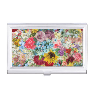 Colorful Vintage Floral Business Card Case